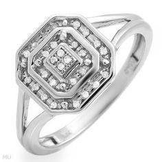 Brand New 10K Solid White Gold & 28 Genuine Diamond Ring RRP $249