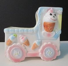 Vintage Ruben's Originals Ice Cream Truck baby / nursery planter.
