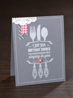 The quick accents added to this single layer card sure make an impact!