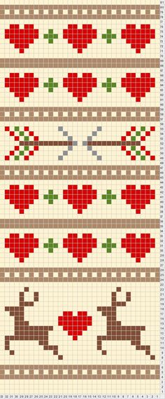 Discover thousands of images about Renos y corazones para punto de cruz. Could be used for a crochet chart. Cross Stitch Borders, Cross Stitching, Cross Stitch Embroidery, Cross Stitch Patterns, Knitting Charts, Knitting Stitches, Knitting Patterns, Free Knitting, Beginner Knitting