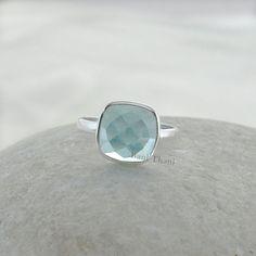 Aqua Quartz Ring - Sterling Silver Ring - Gemstone Jewelry -  Bezel Jewelry - 10mm Cushion Faceted #1041 by BaniThani on Etsy https://www.etsy.com/listing/194110216/aqua-quartz-ring-sterling-silver-ring