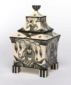 Dagobert Peche (Austrian, 1887-1923). Jar with lid (glazed earthenware), ca. 1918.
