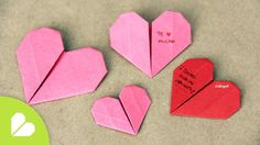 How to make an origami or origami paper heart. Easy step by step to give away on February 14 on Vale Instruções Origami, Origami Videos, Origami Bookmark, Origami Folding, Hart Origami, Origami Boxes, Dollar Origami, Origami Stars, Paper Flowers Craft