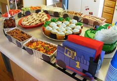 Thomas the train birthday party: Another great loaf pan food train idea! Thomas the train birthday party: Another great loaf pan food train idea! by dorothea Source by Thomas Birthday Parties, Thomas The Train Birthday Party, Trains Birthday Party, Train Party, Birthday Fun, Birthday Party Themes, Birthday Ideas, Third Birthday, Chuggington Birthday