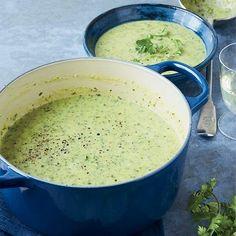 Zucchini Soup with Crème Fraîche and Cilantro