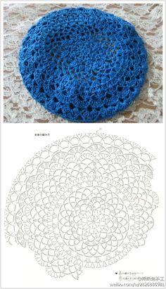 lace-y crochet beret