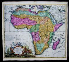 1715 Homann Large Antique Map of Africa Beautiful Hand Colour Totius Africae   eBay