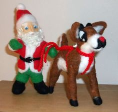 Santa And Rudolph Needle Felted Figures by KathysCraftShop on Etsy
