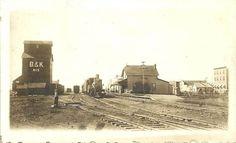 Canada Alberta Lacombe 1909 RPPC Railroad Depot & Train Hadden Photo
