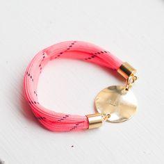 Personalized Bracelet Pink Neon Golden Nautical bracelet