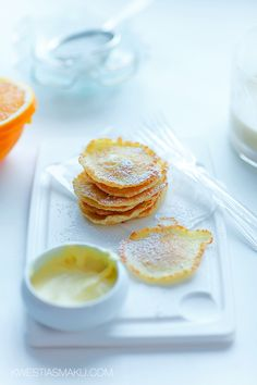 // coconut pancakes with orange mousse