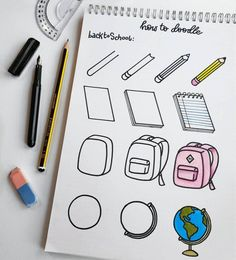 60 How to Doodle Tutorials for Your Bullet Journal. - - 60 How to Doodle Tutorials for Your Bullet Journal… – 60 How to Doodle Tutorials for Your Bullet Journal… – Bullet Journal Inspo, Bullet Journal 2019, Bullet Journal Aesthetic, Bullet Journal Ideas Pages, Back To School Bullet Journal, Simple Doodles, Cute Doodles, How To Doodles, Food Doodles
