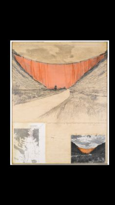 """Christo - """"Valley curtain (Project for Colorado)"""", 1971 - Pencil, staples, Xerox print, tape, string, fabric and paper collage on card - 70 x 56 cm"""