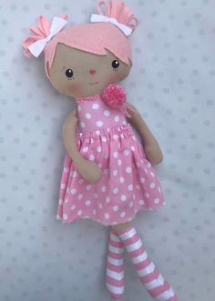 Image of Peony Rag DollYou can find Rag dolls and more on our website.Image of Peony Rag Doll Handmade Dolls Patterns, Doll Sewing Patterns, Sewing Dolls, Handmade Toys, Handmade Rag Dolls, Diy Rag Dolls, Fabric Doll Pattern, Homemade Dolls, Fabric Toys