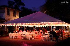 The Garrett Bullock House  Columbus Georgia Weddings Outdoor Wedding Reception Tent Uplighting   GarrettBullockHouse.com