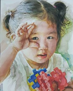 """My daughter """" watercolor on paper by Nagkyoo Seong"""