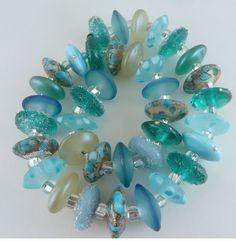 PT Handmade Lampwork Glass Beads Seafoam Disks Teal Aqua Silvered Ivory  SRA  #SRAOOAKHandmadeLampwork #Lampwork