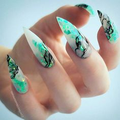 30 Great Stiletto Nail Art Design Ideas - Stiletto Nails - Best Nail World Best Acrylic Nails, Acrylic Nail Art, Acrylic Nail Designs, Turquoise Acrylic Nails, Turquoise Nail Designs, Green Nail Designs, Perfect Nails, Gorgeous Nails, Pretty Nails