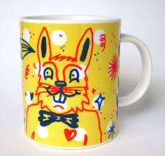 "Image of ""Yellow Bunny"" hand painted mug by Pacolli"