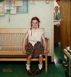 Teehee! this looks like me as a child, always into mischief  (By Norman Rockwell)