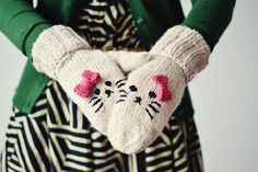 cat embroidered mittens