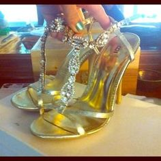 I just added this to my closet on Poshmark: Bakers tammi stiletto in gold with gemstones. Price: $30 Size: 7.5
