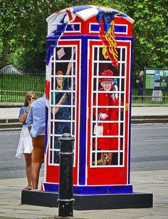 British telephone booth gone funky