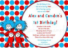 dr seuss thing 1 thing 2 birthday invitations seuss birthday