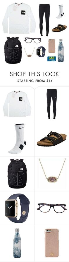 """""""I stubbed my toe and it hurts rlly bad y'all"""" by livvywhi ❤ liked on Polyvore featuring The North Face, NIKE, Birkenstock, Kendra Scott, Ray-Ban, S'well, Tory Burch and Liqui"""