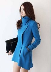 New Style Turndown Collar Long Sleeves Single-breasted Pockets Designed Blue Long Wool Coat Discount Womens Clothing, Coats For Women, Clothes For Women, Long Wool Coat, Long Coats, Women's Coats, Before And After Weightloss, Love Clothing, Free Clothes