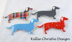 Dachshund Sausage Dog Brooch Rainbow Stripe by kelliechristie, $15.00