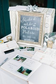 polaroid wedding guest book and table