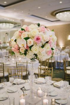 Tall Pink and Ivory Centerpiece | photography by http://www.closertolovephotography.com
