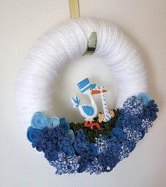 Baby Boy Wreath - Blue Yarn, Felt, and Fabric Wreath, Small 10 inch size