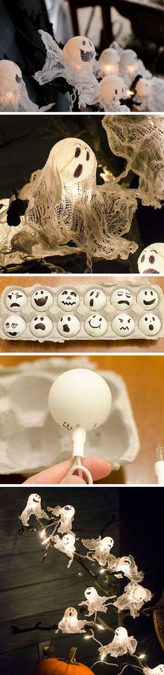 Ping Pong Ball Ghost Lights | DIY Kids Halloween Party Ideas | DIY Halloween Crafts for Kids to Make. Eller använda befintlig slinga med bollformade lampor