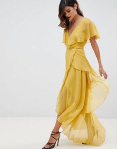 ee2f13980b3 ASOS DESIGN maxi dress with cape back and dipped hem Yellow Wedding Guest  Dresses