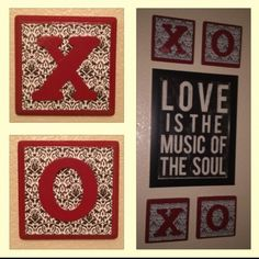XO plaques made to go with our LOVE theme. Wooden plaques painted, scrapbook paper cut & glued, painted letters, all covered with modge podge ❤