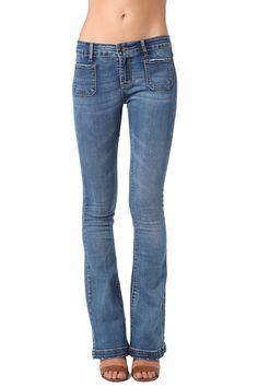 Front Pocket Denim Flare Jeans   Ward + Robe
