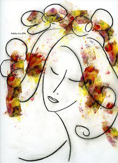 """Dreaming Woman""  20x30cm. Paper.Gouache."