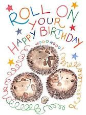 Roll On Your Happy Birthday Hedgehogs Greeting Card Cute UK Made FSC
