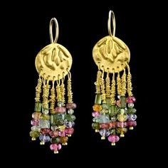 Exclusive Vintage Style Stunning Rich Colorful 22K Gold Mobile Chandelier Earrings with Hanging Tourmalines in Different Shape And Color
