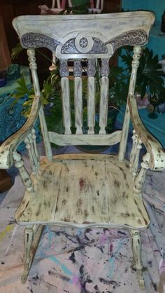 Sweet T's Custom Creations .... Shabby Chic Rocking Chair done in Valspar Withered Moss