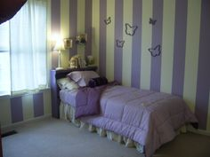 Girl's bedroom, painted wall stripes