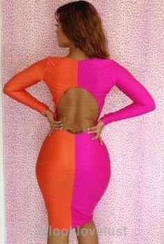 Two Tone Long Sleeve Bodycon Dresses -  - Casual Dresses, Look Love Lust - 4