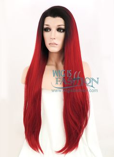 "30"" Long Straight Black Mixed Red Lace Front Synthetic Hair Wig LF336 - Wig Is Fashion"