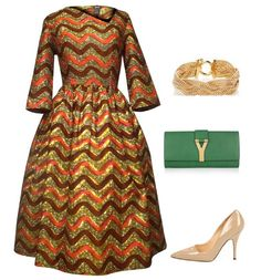 Classy Asymmetrical Fit and Flare African Print Midi Dress. Style it with a complimentary green clutch, gold jewelry and nude pumps.