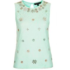 TOPSHOP Tall Embellished Lace Top (105 BRL) ❤ liked on Polyvore featuring tops, blouses, shirts, tank tops, topshop, mint, mint shirt, green lace blouse, mint green top and mint green blouse