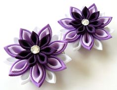 Kanzashi  Fabric Flowers. Set of 2 hair clips. Shades of purple. on Etsy, $13.50