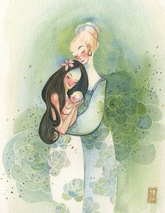 Illustration art Watercolor painting Mother's Day by AlinaChauArt, $25.00