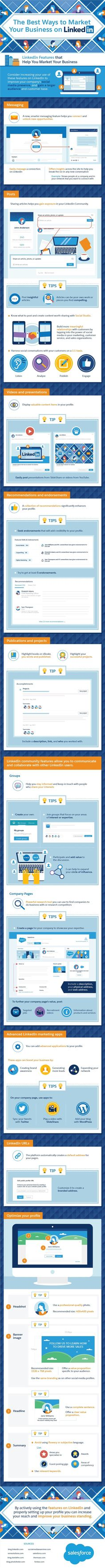 The Best Ways to Market Your #Business on #LinkedIn #Infographic #SocialMedia #Marketing